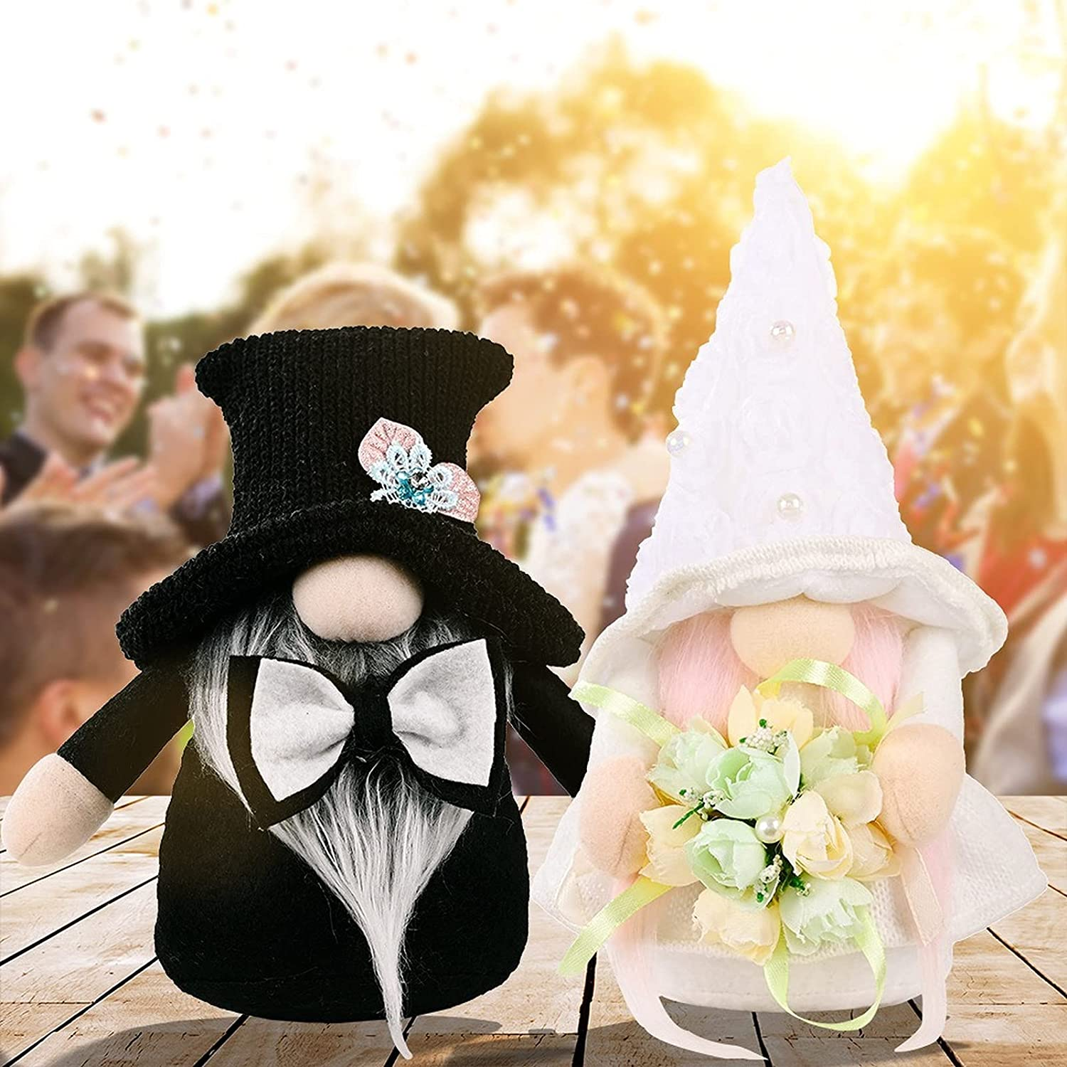 KEAIDO 2pcs Wedding Gnome Bride Dress Groom Suits Bridal Bouquet Wedding Gift Decoration Plush Faceless Collectible Doll Figurine Engagement Valentine's Day Home Party Kitchen Elf Tomte Swedish Dwarf