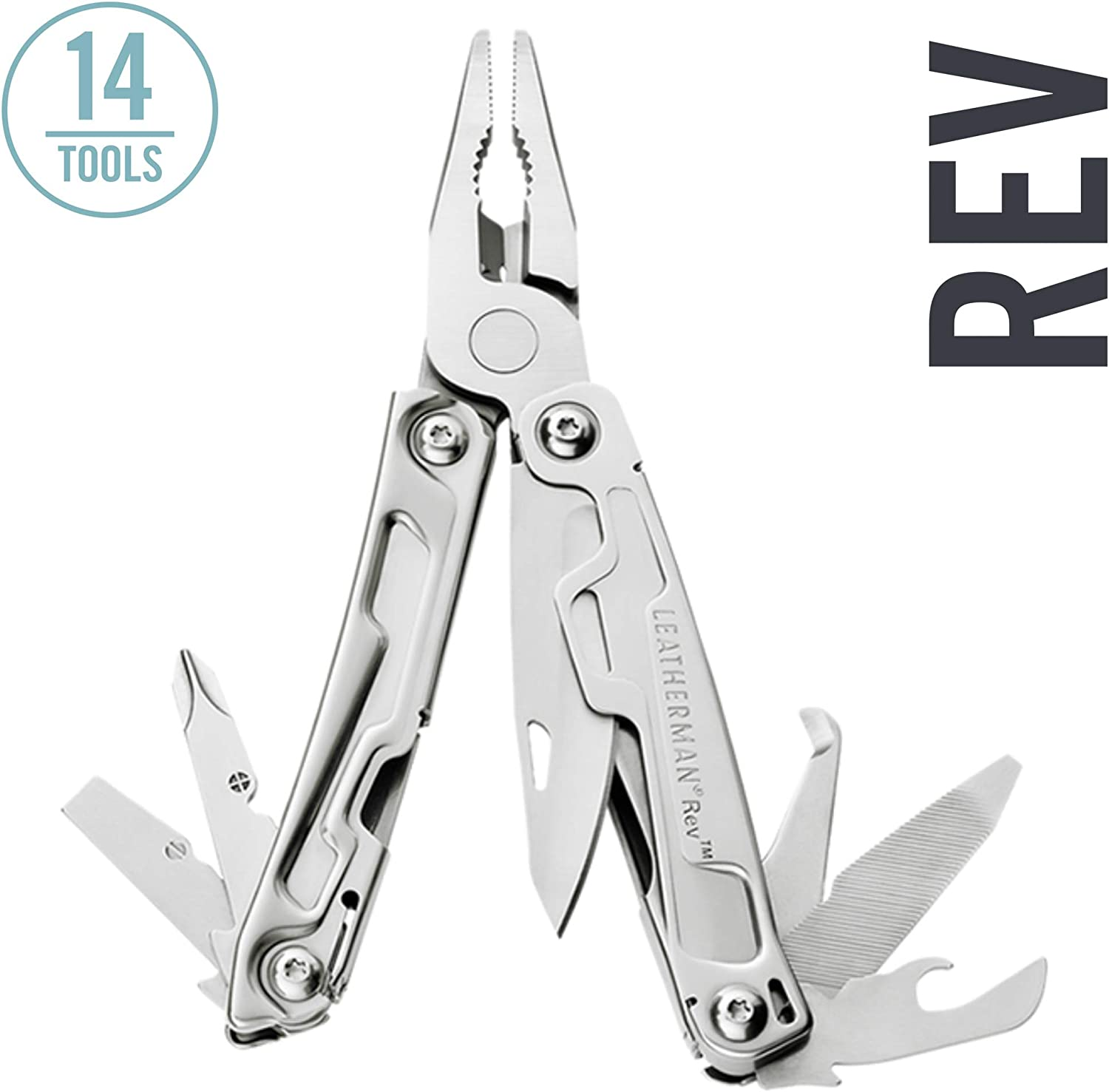 LEATHERMAN – Rev Pocket Size Multitool with Package Opener and Screwdrivers, Stainless Steel