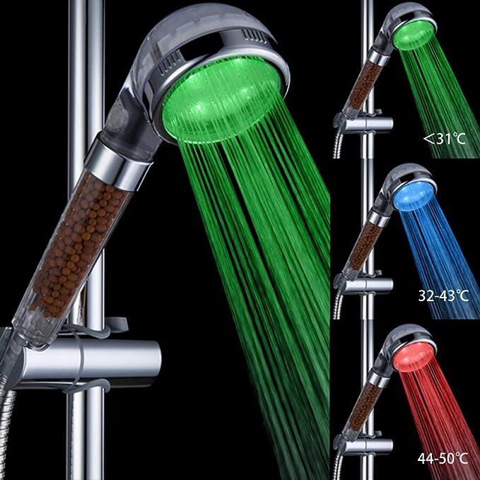 150 opinioni per Soffione doccia, Marsoul 3 colore cambia LED controllo della temperatura,