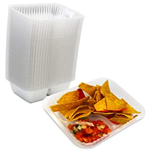 [125 Pack] Nacho Plastic Tray Anti Spill Small Nachos Trays Disposable 2 Compartment Clear Dart Trays Best for Cheese, Sauce or Dips