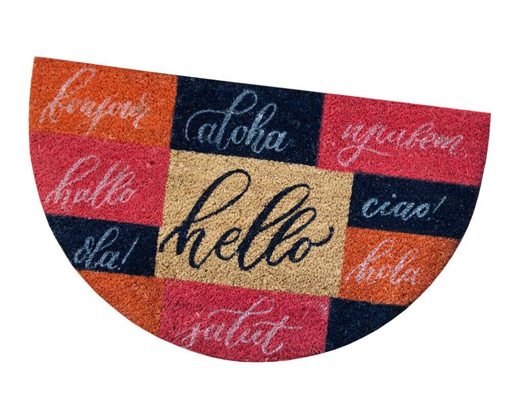 A emmevi Zerbino Cocco Semiluna 45x75 cm Moderno Antiscivolo Tappeto Simpatico Ingresso Entrata MOD.California SEMILUNA