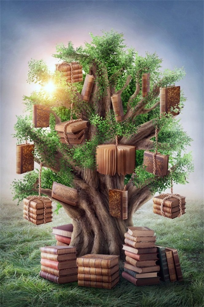LFEEY 5x7ft Fantasy Books Tree Photography Backdrop Fairytale Hanging Vintage Book Stacks Tree of Wisdom on Grassland Photo Background Back to School Photo Studio Props Vinyl Banner
