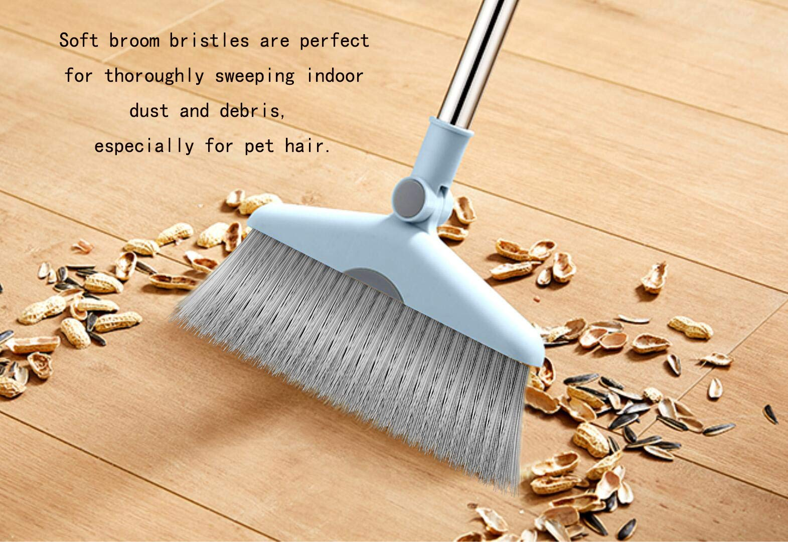 Dust Pan Sweep Set and Broom/Dustpan Cleans Broom Combo with Long Handle Broom Organizer for Home Kitchen Room Office Lobby Floor Use Upright Stand up Dustpan Broom Set by YOUSHANGJIA (Image #7)
