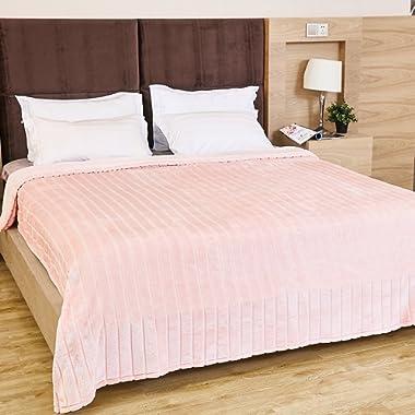 Bertte Ultra Velvet Plush Super Soft Decorative Stripe Throw King Size Bed Blanket- 102 x 90 , Pink