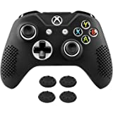 Xbox One S Controller Skin Case Cover, MoKo Anti-slip Silicone Protective Case with 4PCS Joystick Caps for Xbox One S & Xbox One X Controllers – Black