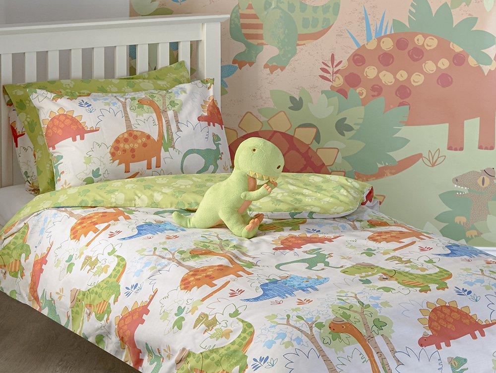 Dinosaure T-Rex pour Enfant Junior Parure de lit avec Housse de Couette et taie doreiller Parure de lit pour Enfant de lit gar/çon Dinosaure Vert