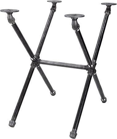 Amazon Com Pipe Decor Industrial Table Leg Set Rustic End Table Side Table Base Kit Dark Grey Black Steel Metal Pipes Vintage Furniture Decorations Diy Coffee Table Legs Mid Century Modern Crisscross Style Kitchen
