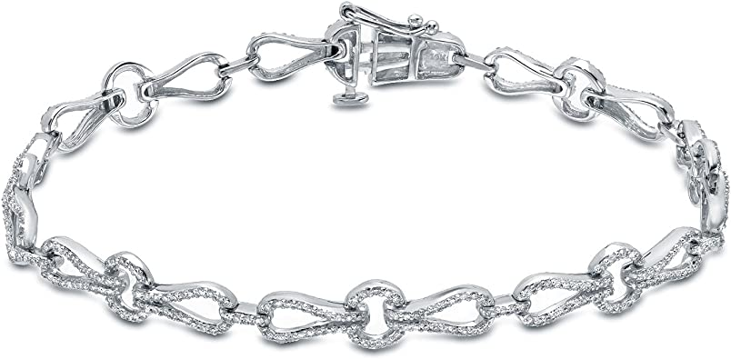 Ladies 14kt Diamond Tennis Bracelet 1ct In WHITE Gold Finish Very Elegant