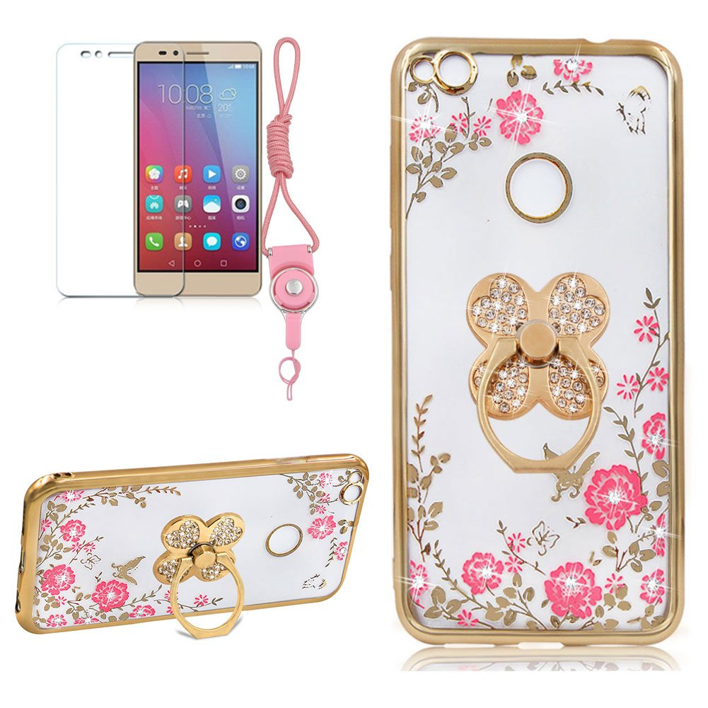 Case For HUAWEI P10 LITE, Girlyard [Secret Garden] Rose Gold Frame Pink Embossing Clear Shiny Plating Case Slim Crystal Floral Butterfly Bling Back Case Cover with Clover Rotating Ring Stand
