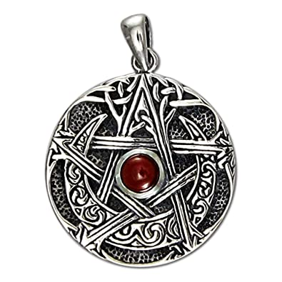 Amazon sterling silver moon goddess pentacle pendant with sterling silver moon goddess pentacle pendant with natural garnet aloadofball Image collections