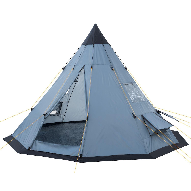 CampFeuer® - Tipi Zelt (Teepee), 365 x 365 x 250 cm, grau, Indianerzelt, Camping Pyramidenzelt