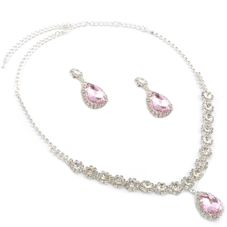 Topwholesalejewel Wedding Jewelry Set Silver Plating Light Pink Stone Neckalce Earrigns Set