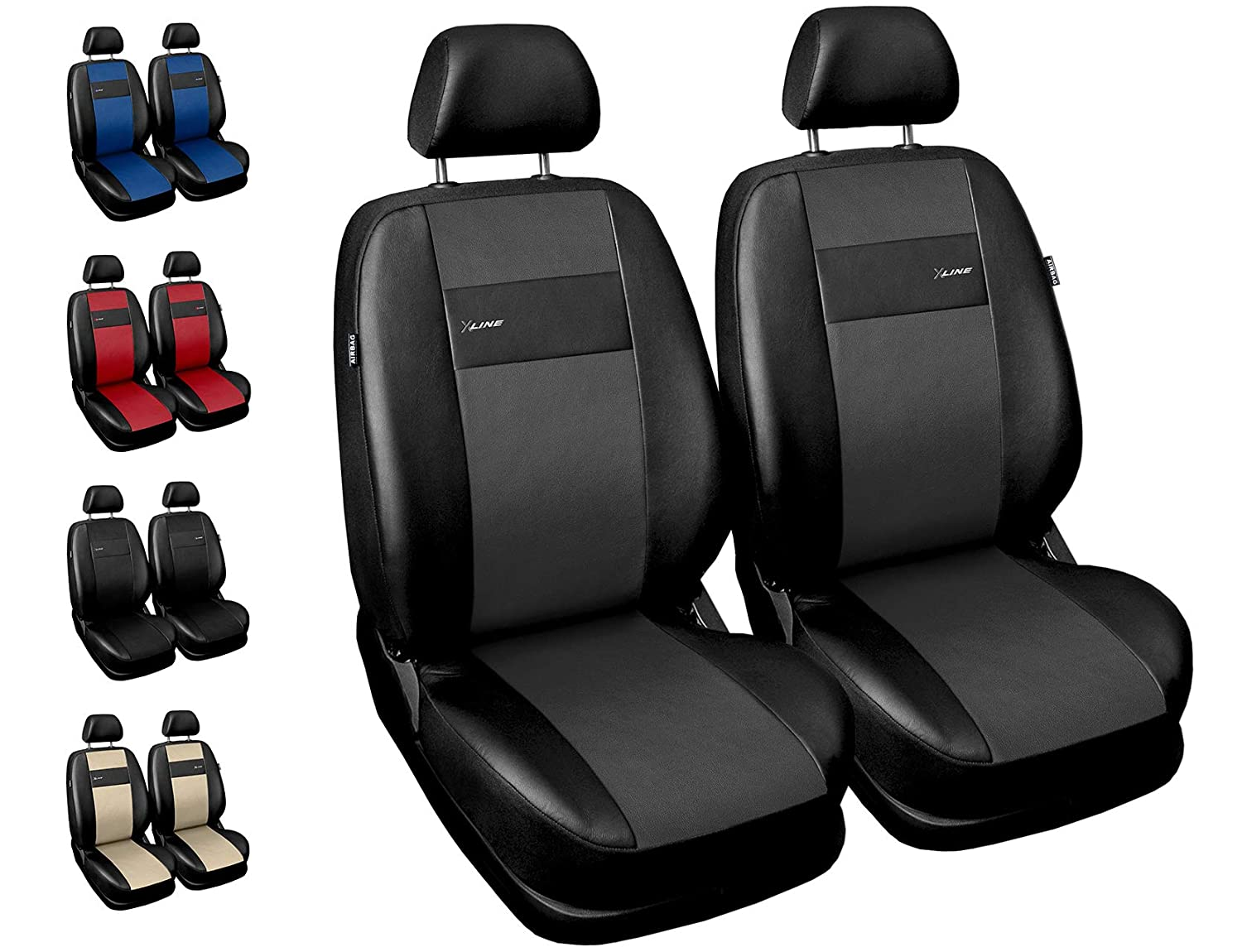 Universal Car Seat Covers Full Set Red//Black Washable Airbag Fits Alfa Remeo