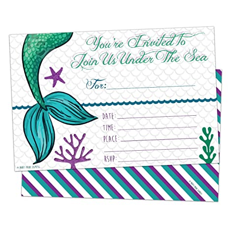 amazon com mermaid invitations fill in style 10 count