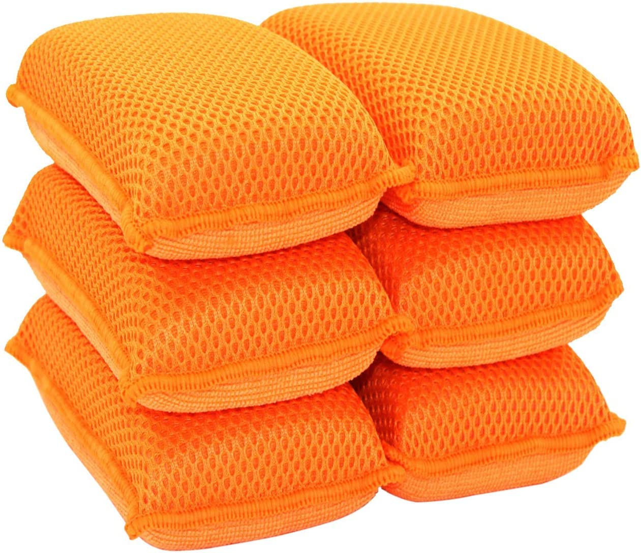 Miracle Microfiber Kitchen Sponge by Scrub-It (6 Pack) - Non-Scratch Heavy Duty Dishwashing Cleaning sponges- Machine Washable- (Orange)