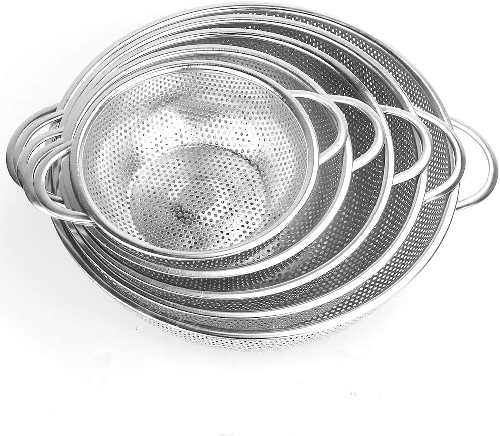 OffKits Colander Set of 5, Stainless Steel Micro-Perforated Colanders Strainers for Draining Rinsing Washing, Ideal for Pasta Vegetables Fruits, Heavy Duty & Dishwasher Safe