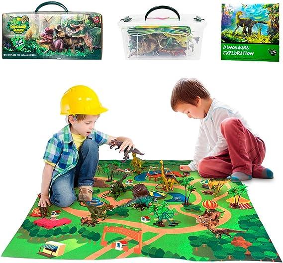 welltop Juguetes de Dinosaurios, 9 Piezas de Juguetes de Dinosaurios educativos realistas Jurassic World Dinosaurios de Juguete con Actividad Tapete de Juego 31 x 27 Pulgadas, árboles: Amazon.es: Juguetes y juegos