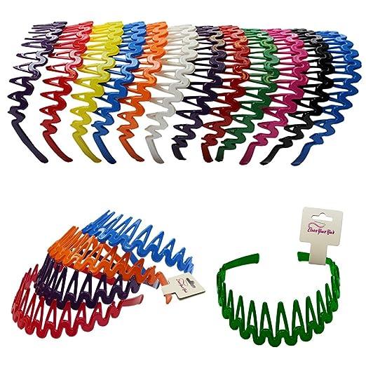 Amazon.com  Plastic Headband with Teeth - 12 Hard Headbands - Bright Color  Headbands by CoverYourHair  Beauty 63d8acb89b2