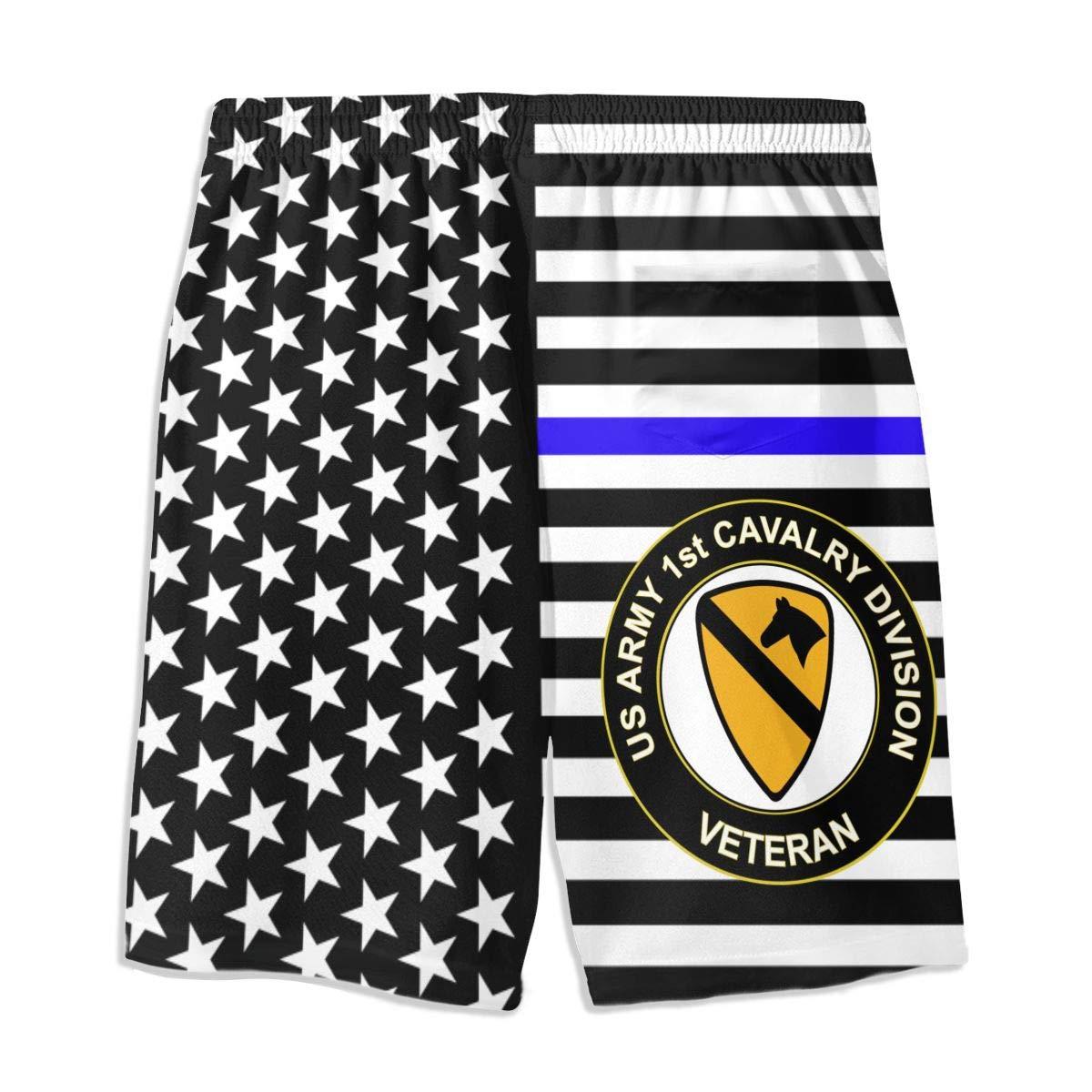US Army Veteran 1st Cavalry Division Men Summer Casual Shorts,Beach Shorts Pocket Shorts