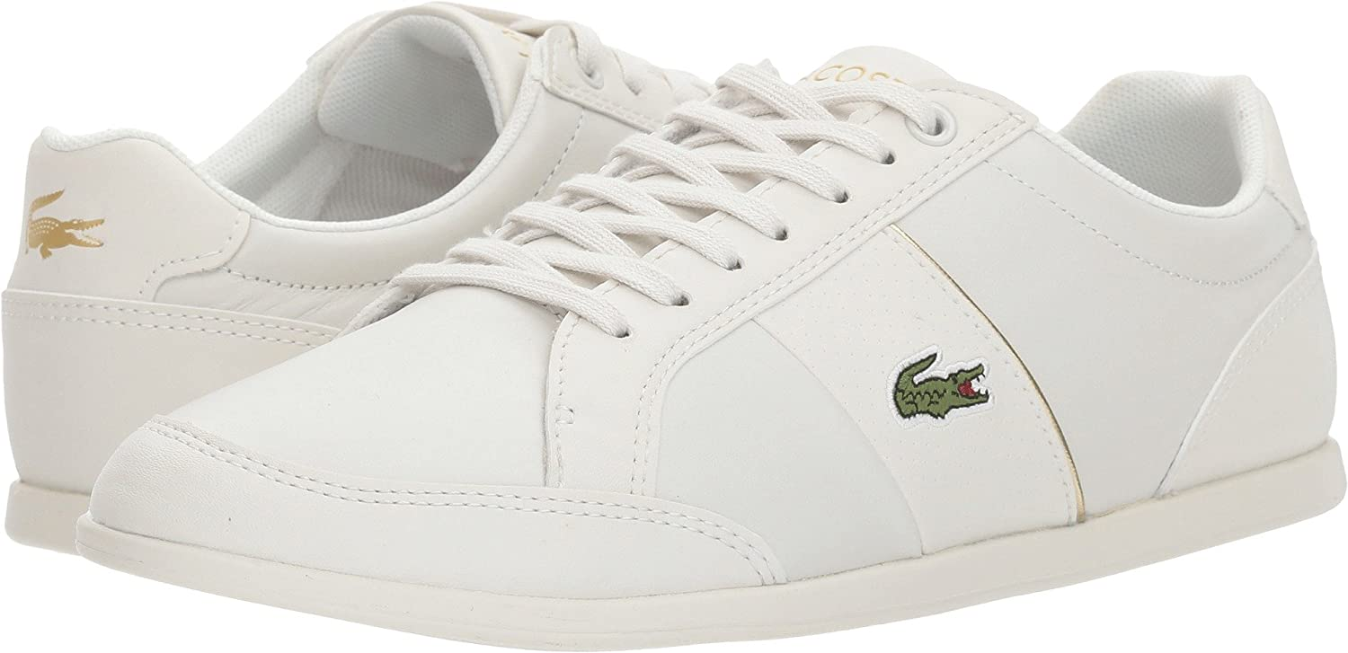 Lacoste Women's SEFORRA Leather Sneakers B076T2ZBYF 10 B(M) US|White/Gold