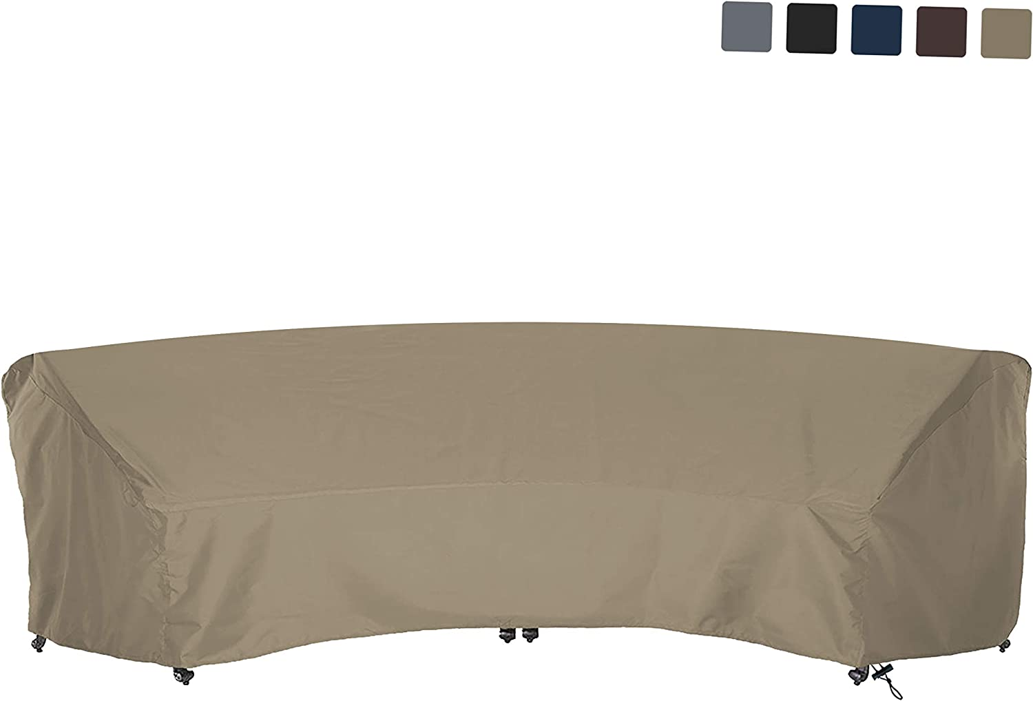 COVERS ALL Curved Sofa Cover 12 Oz Waterproof – 100 UV Weather Resistant Customize Outdoor Sofa Cover with Air Pockets and Drawstring with Snug Fit 150 L x 36 W x 38 H x 112 FL, Beige