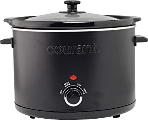 Courant Slow Cooker 5.0 Quart Crock, with Easy Cooking Options, Dishwasher Safe Pot and Glass Lid, Matte Black