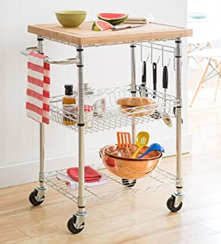 trinity ecostorage bamboo kitchen cart amazon com   trinity ecostorage bamboo kitchen cart   kitchen      rh   amazon com