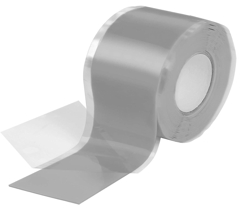 2 rotoli di 3 m Grigio larghezza 38 mm Poppstar 1009896 Nastro autosaldante in Silicone