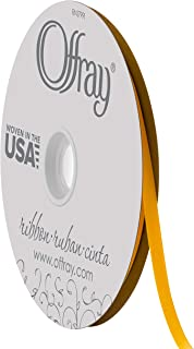 "product image for Offray 1/4"" Wide Double Face Satin Ribbon, 100 Yards, Yellow Gold"