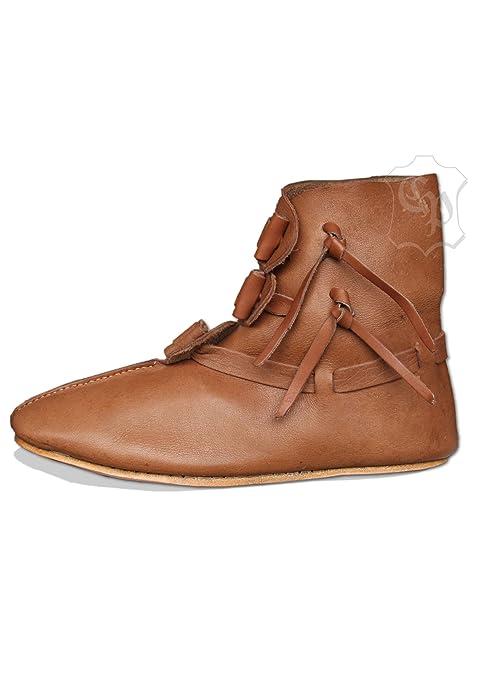 Battle Merchant Wendegenähte Halbstiefel mit Knebelverschluss LARP Mittelalter Schuhe Stiefel Wikinger Reenactment Vikings