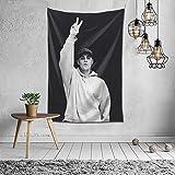 I feel so holy Justin-Bie-ber Tapestry Art Poster Wall Hanging Rapper Tapestry for Bedroom Living Room Dorm Room (black and w