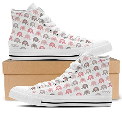 Baby Elephant - Womens High Top Canvas Sneakers White