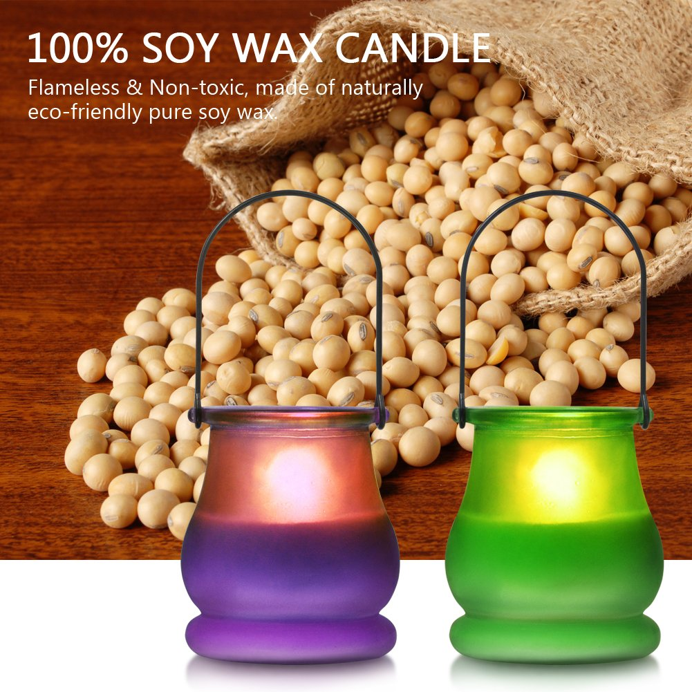 Large Jar Candle Imanom 2 packs Scented Soy Candle Indoor and Outdoor Citronella Candles 60 Hours BURN 100/% Soy Wax Travel Glass Candle