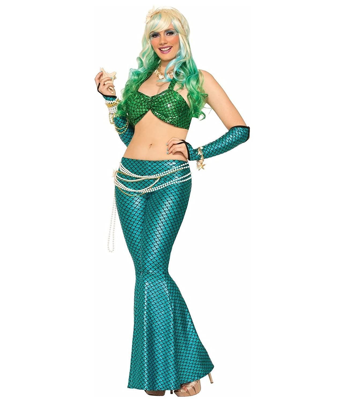 Amazon.com: Mermaid Bikini Top Skirt Metallic Ariel Sea Fish Halter ...