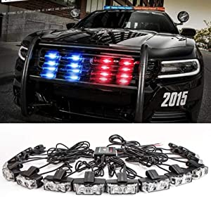 Clidrel 16 PCS 2-LED Flashing Modes Car Truck Emergency Flash Dash Vehicle Strobe Light Lamp Bars Warning Deck Dash Front Rear Grille with Remote Control (red blue)