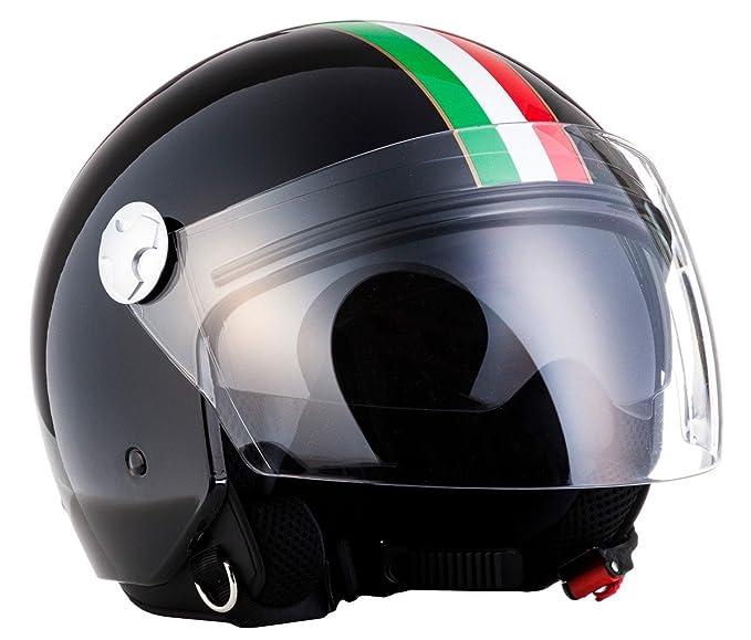 "Schwarz ARMOR /· AV-63 /""Italy Black/"" 61-62cm Chopper Scooter-Helm Bobber Roller Mofa Motorrad-Helm  Click-n-Secure Clip /· Tragetasche /· XL"