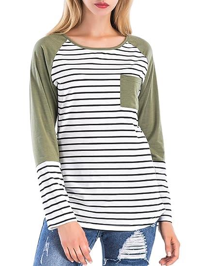 9911dcf2e9 St. Jubileens Women's Long Sleeve T Shirt Color Block Casual Striped Blouse  Tops M Green