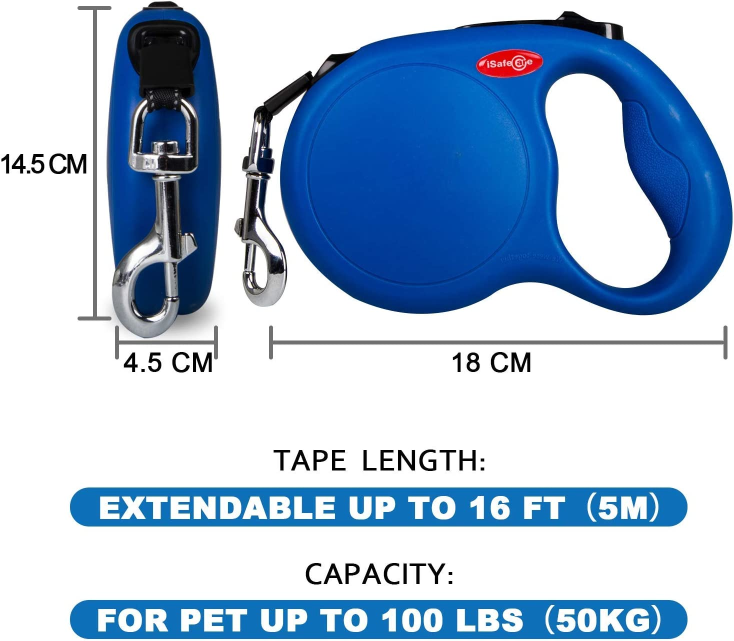 iSafeCare Heavy Duty Automatic 12ft//16ft Retractable Dog Leash for Small Medium Large Breeds up to 110lbs Reflective Nylon Tape 360/° Tangle Free Extendable Pet Walking Training Lead