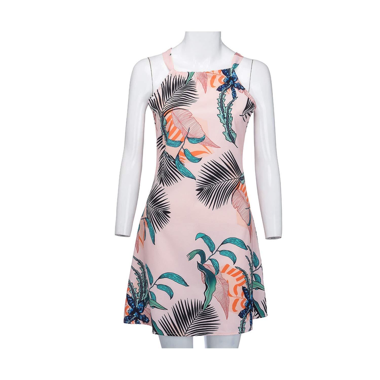 Pink Spring Womens Sexy Loose Dress Women Sleeveless Halter Neck Floral Print Casual Mini Dress