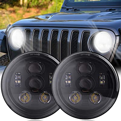 DOT Approved 7 Inch Round LED Headlights with High Low Beam for Jeep Wrangler JK JKU TJ LJ CJ 4 Door 2 Door Hummer H1 H2 H6024 Headlamp Replacement 6 Bulbs (2PCS): Automotive