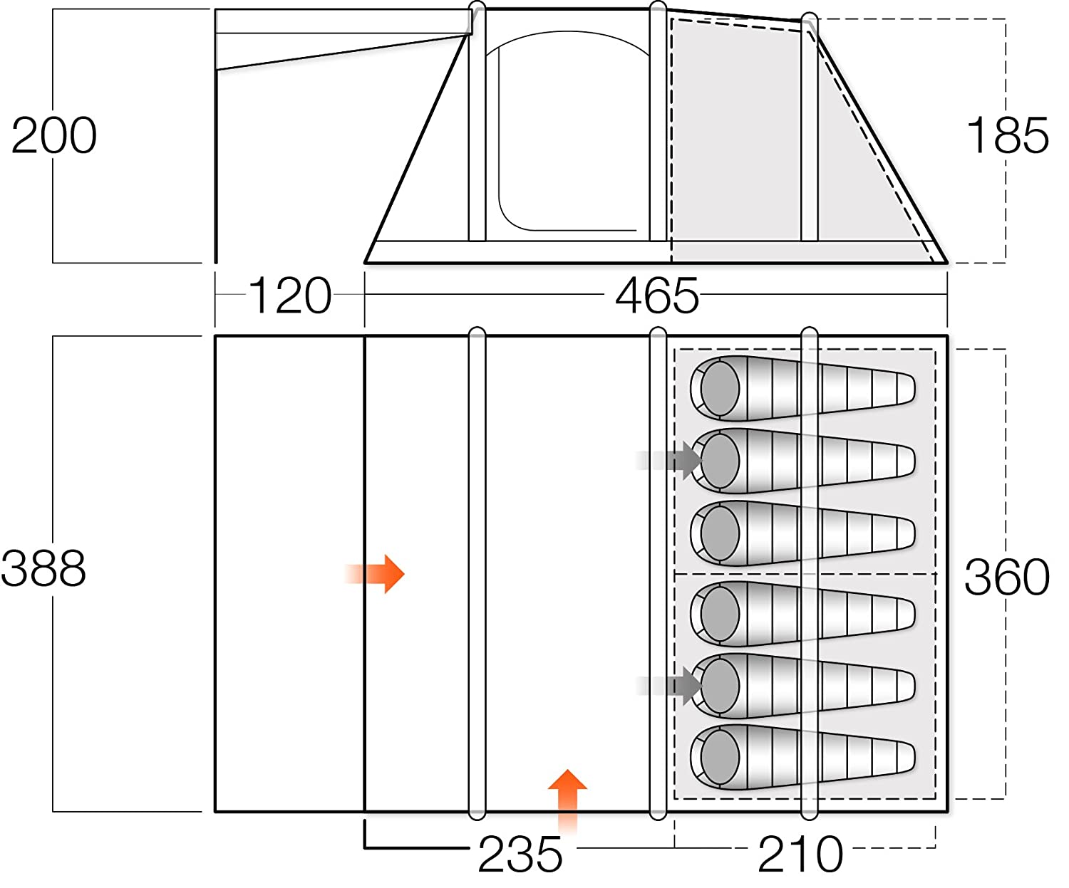 Vango Odyssey Inflatable Family Tunnel Tent Epsom Green Airbeam Taylor 210e Wiring Diagram 600sc Sports Outdoors