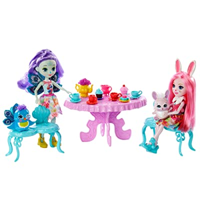 Enchantimals Tasty Tea Party Playset with Bree Bunny & Patter Peacock Dolls (6-inch) with Animal Friend Figures, 15+ Accessories, Multi: Toys & Games