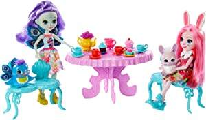 Enchantimals Tasty Tea Party Playset with Bree Bunny & Patter Peacock Dolls (6-inch) with Animal Friend Figures, 15+ Accessories [Amazon Exclusive]