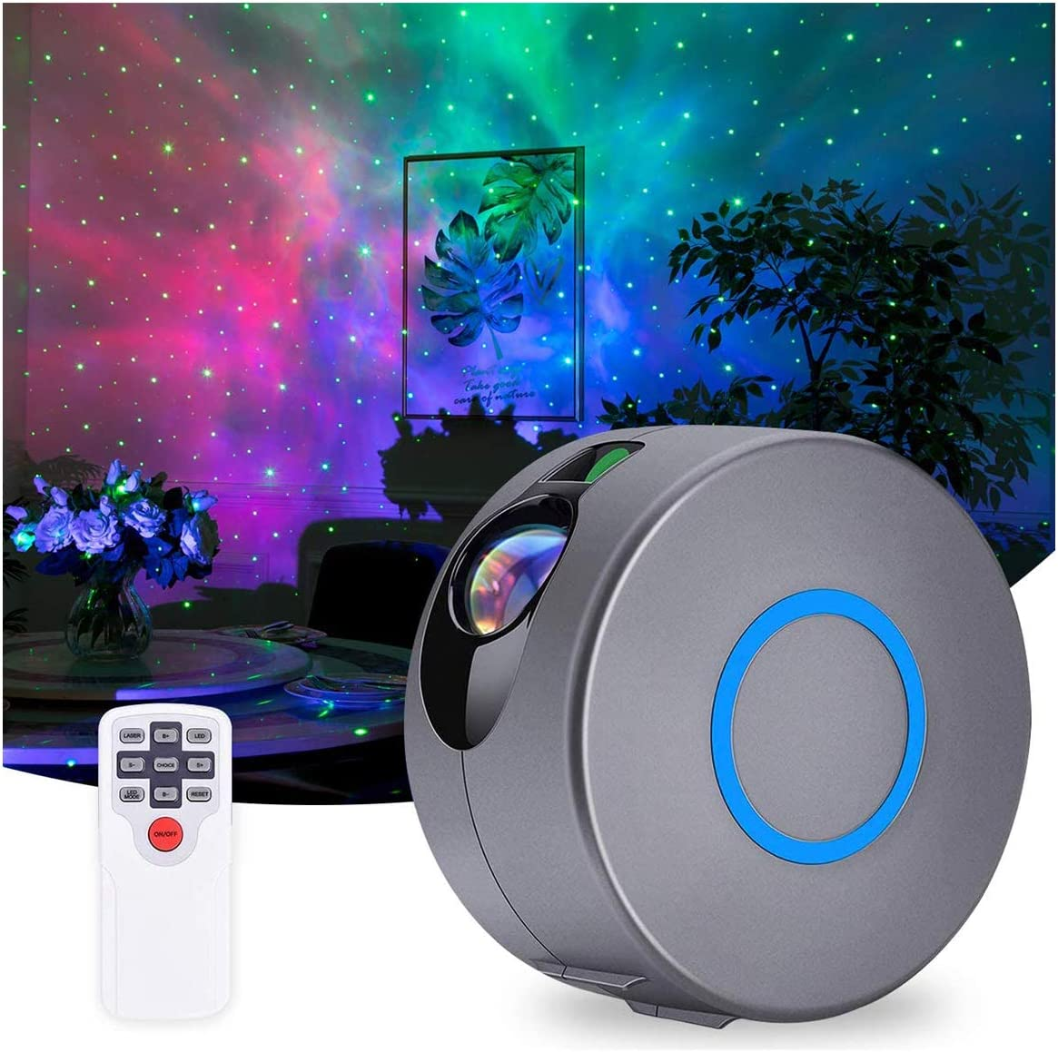 Galaxy Projector with Nebula Cloud, Remote Control Star Projector Skylight Upgrade 7 Nebula Colors 15 Lighting Modes, Night Light Projector Lights for Bedroom Decor for Baby, Kids,Adults (Black)