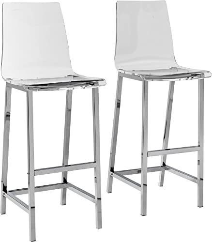 Bar Stools Chrome and Clear Set of 2