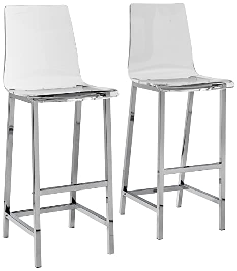 Surprising Bar Stools Chrome And Clear Set Of 2 Unemploymentrelief Wooden Chair Designs For Living Room Unemploymentrelieforg