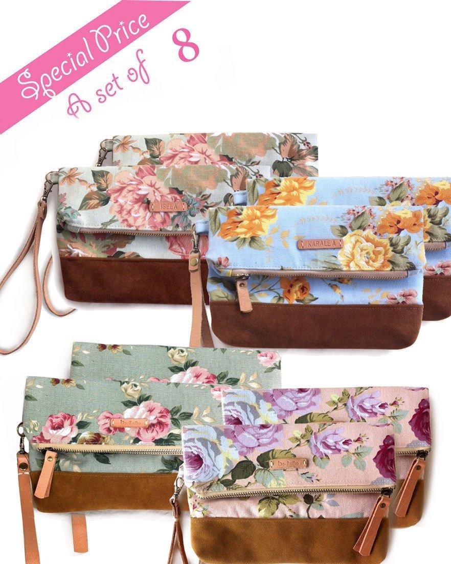 SET OF 8 Borann -Bridesmaid Gift-Bridesmaid clutchWomen Floral Monogram Canvas Clutch Handbag Purse Bridesmaid Gift Personalized Your Name