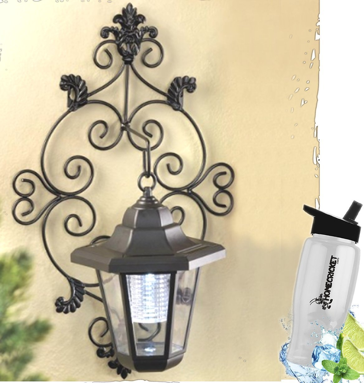 HomeCricket Gift Included- Solar Powered Garden Wall Lantern Decorative Hanging Solar Lights + FREE Bonus Water Bottle by Home Cricket