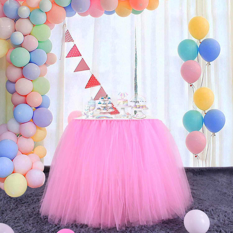Pasteles Baby Shower ni/ñas Princesa 78,7 x 91,4 cm Fiestas de Navidad AKDSteel cumplea/ños decoraci/ón para Bodas Color Blanco y Rosa Mantel de Tul Falda