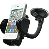 LotFancy Cell Phone Holder - Mobile Phone Car Mount - 360° Rotation Windshield Dashboard Cradle for GPS iPhone 8 7 7Plus 6 6Plus 5S 5 5C Samsung Galaxy S7 Edge 6S Smartphones